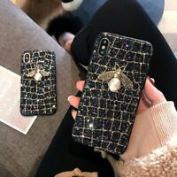 Deluxe Glitter Pearl Bee Bling Phone Case for iPhone X XR MAX XS 6 7 8 Plus
