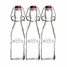 Set Of 3 Small 250ml Clip Top Bottles Swing Flip Glass Preserving Beer Storage