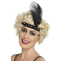 New Ladies Flapper Black,White, Pink Head Bands & Feather 1930's Fancy Dress