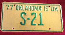 1977 OKLAHOMA STATE SENATE S-21 LICENSE PLATE