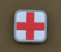 "PVC / Rubber Patch ""Small Medic Cross"" White with VELCRO® brand hook"