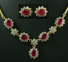 FASHION JEWELRY GEM 14K YELLOW GOLD RUBY SAPPHIRE lady NECKLACE + EARRINGS V02