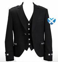 Brand New Argyle Kilt Jacket Men's Custom Made Scottish Jacket With Waistcoat