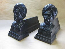 Pair of Antique Cast Iron Fire Dogs / Andirons ~Men in Turbans ~ Sikh Military?