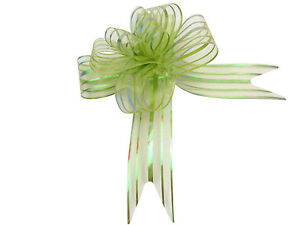 Green Butterfly Bow Large x 10 Organza