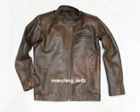 New Soft Lambskin Motorcycle biker Genuine Leather Jacket Cafe Racer Vest 2 tone