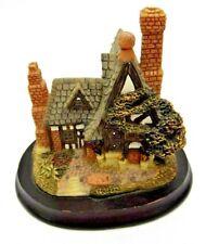 """Thomas Kinkade 4"""" X 4"""" X 3.5""""Wood Base Ceramic Cottage Collectible Kaho House"""