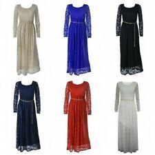 Plus Size Scoop Neck Floral Full Length Dresses for Women