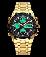 Men Watches Multifunction Digital Analog Gold Stainless Steel Band Black Dial