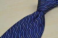 Italo Ferretti Blue Diagonal Trippy 100% Silk Mens Tie Made in Italy