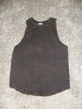 Womens EXIST Tank Top Small Black/Brown Distressed Acid Wash Faded NEW