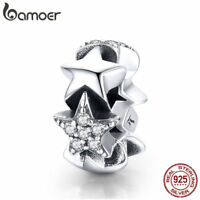 BAMOER S925 sterling silver charms Little Star with AAA CZ Fit bracelet Jewelry