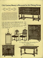 1937 PAPER AD Early English Dining Room Furniture Waverly Coventry China Buffet