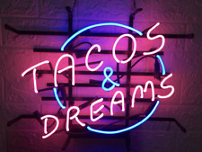 """Tacos And Dreams 17""""x14"""" Neon Sign Light Lamp Beer Bar With Dimmer"""