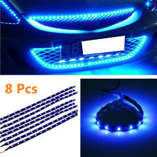 8Pcs/Set Flexible 12V Blue 15 LED SMD Waterproof Car Grille Decor Lights Strip