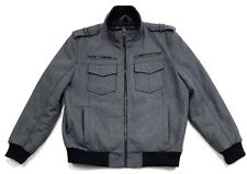 STRUCTURE MENS WOOL BLEND GRAY ZIP UP JACKET Size XL