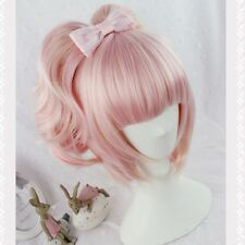 Womens Lolita Harajuku Wig Pink Ombre Long Wavy Curly Hair Anime Cosplay Costume