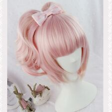 Ladys Lolita Harajuku Wig Pink Ombre Long Wavy Curly Hair Anime Cosplay Costume