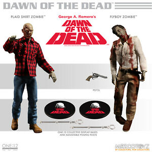 Mezco One:12 Dawn of the Dead Fly-Boy and Plaid Zombie Action Figure 2 Pack MINT