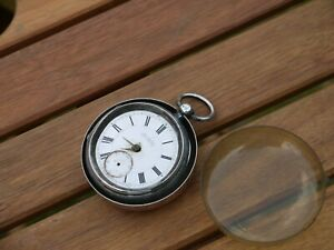 NICE HEAVY ANTIQUE VICTORIAN HM 1895 SILVER MANCHESTER POCKET WATCH TO RESTORE