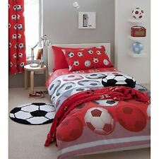 "CATHERINE LANSFIELD LINED FOOTBALL CURTAINS - RED - POLYCOTTON - 66"" X 72"" BOYS"