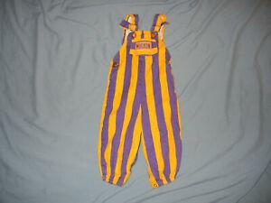 VTG 90's Washington HUSKIES toddler bib overalls 18M Purple Gold stripes youth