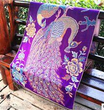 purple Women's 100% Silk Cotton Flower Cashmere Long Peacock Scarf Wrap Shawl