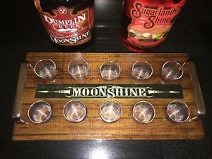 Moonshine Tasting Tray, Wood With Brass Handles + 10 Tasting Cups