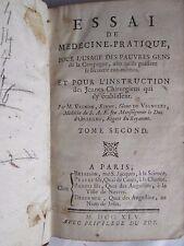 VIGNON : ESSAI DE MEDECINE PRATIQUE, 1745. Tome 2 seul (sur 2)