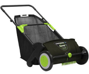 """30"""" Large Foldable Wheeled Lawn Sweeper Outdoor Yard Leaves Grass Sweeping"""