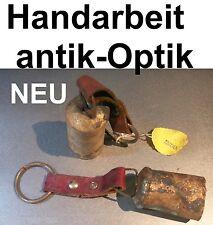 GLOCKE ANTIK OPTIK KUHGLOCKE ZIEGENGLOCKE HANDARBEIT DEKO LEDERRIEMEN SCHELLE
