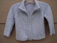 Cherokee Girl Knit Sweater Cardigan Sz XS 5 Full Zip Light Blue Glitter Chenille