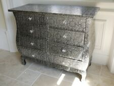 Black and silver embossed chest of 6 drawers 85 cm wide