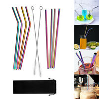 Rainbow Stainless Steel Drinking Straws Straight Bent Metal Straw Brush Reusable