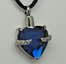 SAPPHIRE BLUE HEART CREMATION URN NECKLACE CREMATION JEWELRY MEMORIAL PENDANT