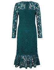 New MONSOON Penelope Green Lace Peplum Fishtail Midi Evening Dress Size 18