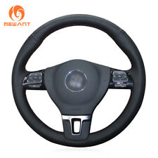 Black Leather Steering Wheel Cover for VW Gol Tiguan Passat B7 CC Touran Jetta