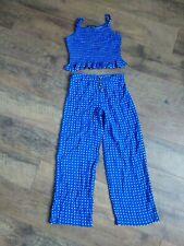 Amy Byer Girls' Size M (10-12) 2-Piece Outfit Set Top & Pants Blue Polka Dot