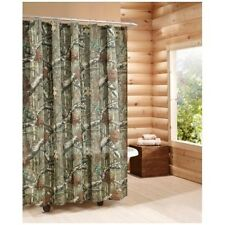 Camouflage Shower Curtain Mossy Oak Rustic Hunter Cabin Camo Bathroom Decor New