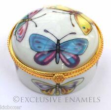 Alastor émaux papillons rond à charnière Chine bijou Box