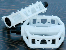 "White Platform Bike Pedals 9/16"" Fixed Gear Track BMX MTB Cruiser Fixie Bicycle"