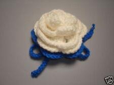 Luggage Bag Identifyer ID Tag Crochet Rose White Blue