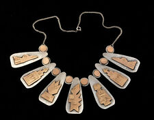 Rare Handmade 1960's Peruvian 18k & Sterling Silver Necklace Accented 7 Totems