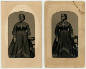 1866 TINTYPE PAIR BLACK AFRICAN AMERICAN WOMAN SEQUENCE REVENUE TAX STAMP