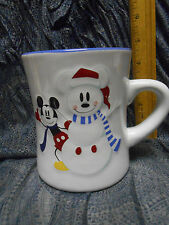 3D Disney Store Mickey Mouse Snowman Snowflake Large Coffee Mug Cup 18 oz EUC