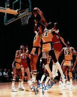 Bob McAdoo Signed 8X10 Autograph Photo Los Angeles Lakers w/Kareem COA Rebound