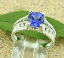 14k Solid White Gold Natural Diamond & AAAA Cushion Cut Tanzanite Ring 2.60 ct