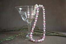 Vintage Pink Givre Glass and White Pearl Necklace with Earrings, 18""