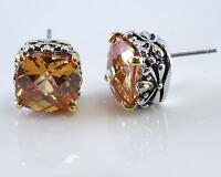 Golden Topaz Cubic Zirconia Earrings 2 Tone Designer Filigree Silver Gold 18KGP