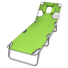 Folding Recliner Sun Bed Lounge Pool Beach Deck Sunbake Green Head Back Adjust